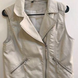 H&M White Faux Leather Vest